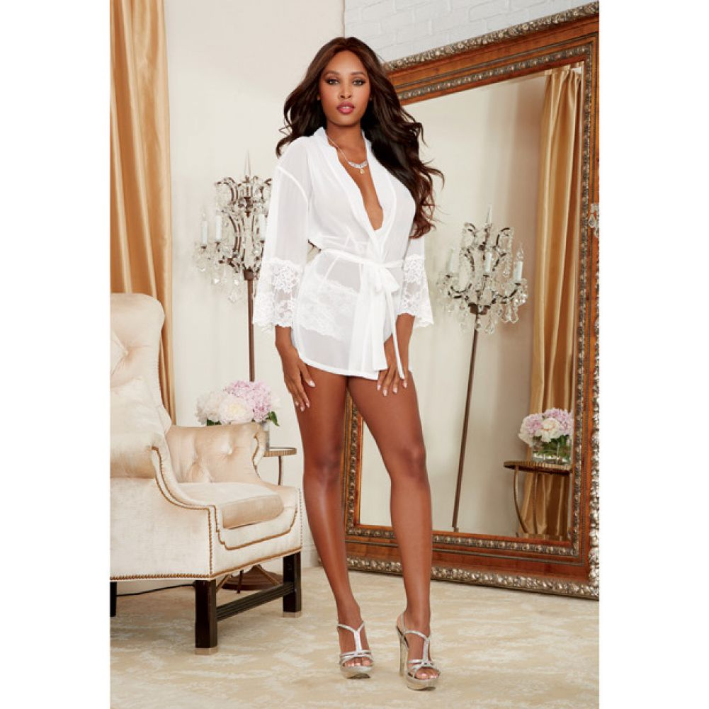 Dreamgirl Chiffon Stretch Lace Short Length Kimono Robe and Cheeky Panty Large White - View #4