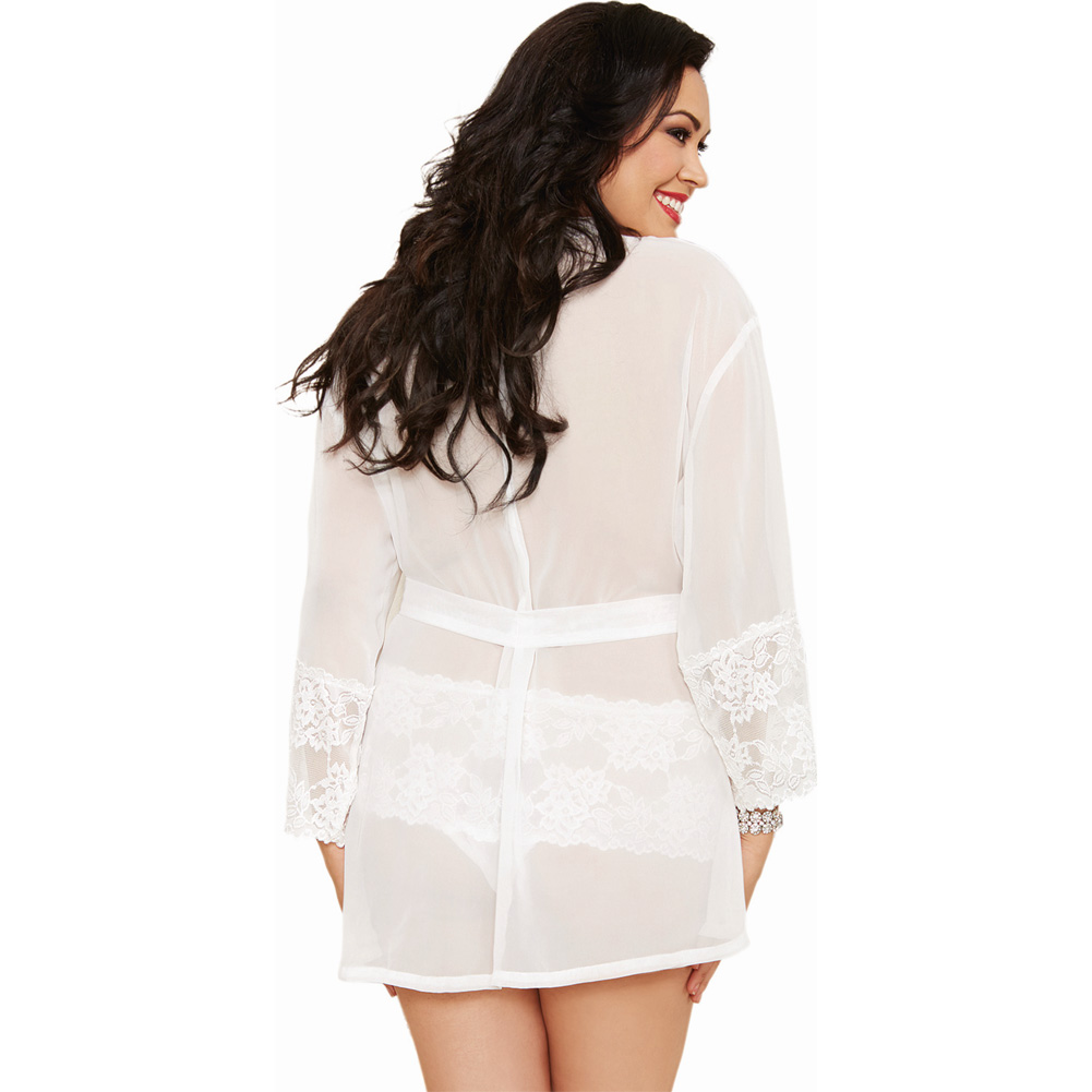 Dreamgirl Chiffon Stretch Lace Short Length Kimono Robe and Cheeky Panty 1X/2X White - View #2