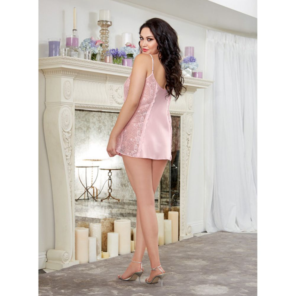 Dreamgirl Lingerie Silky Satin A-Line Chemise with Scalloped Lace Side Panels Vintage 1X/2X Pink - View #4