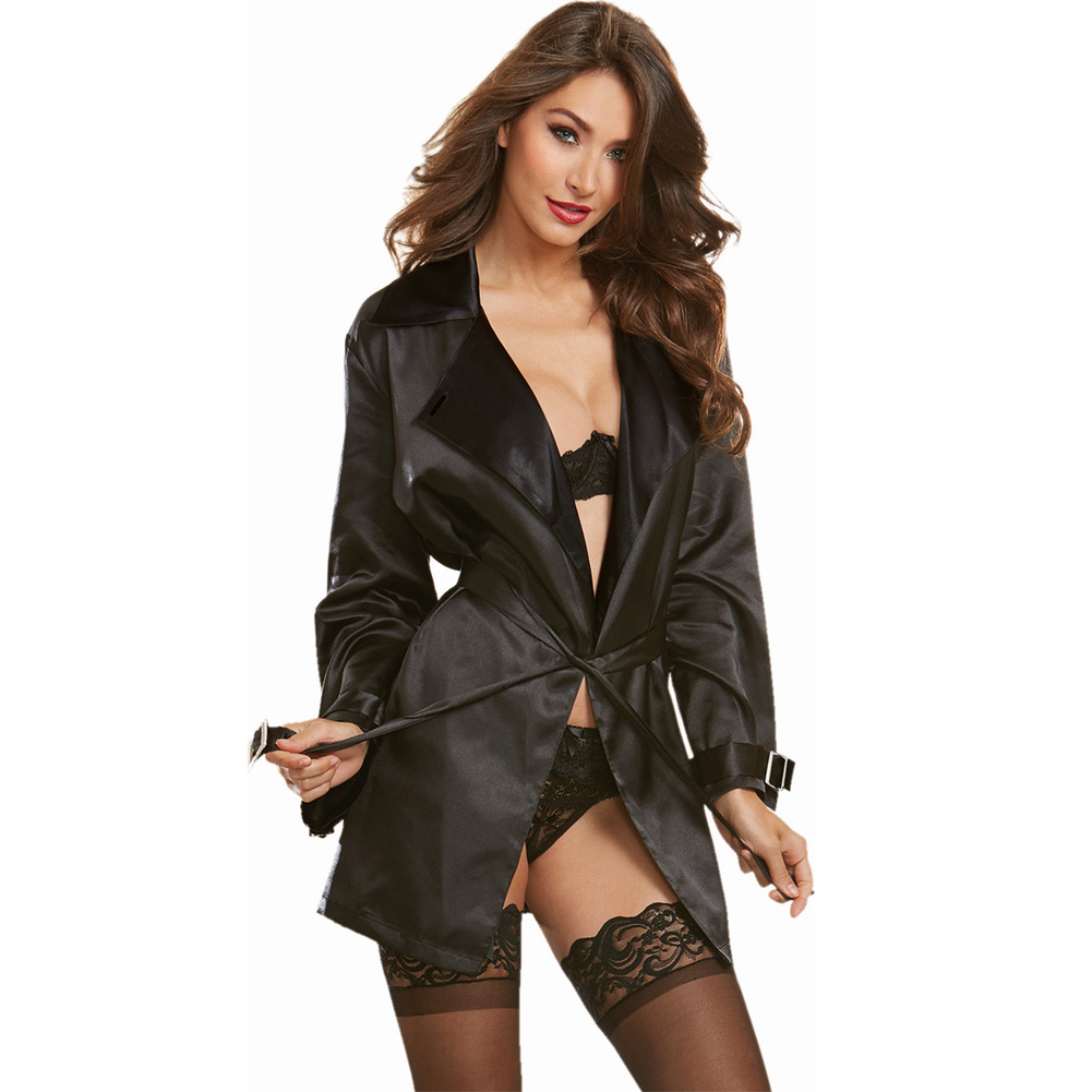 Dreamgirl Lingerie Silky Satin Charmeuse Robe with Trench Coat Styling Attached Belt Small Black - View #3