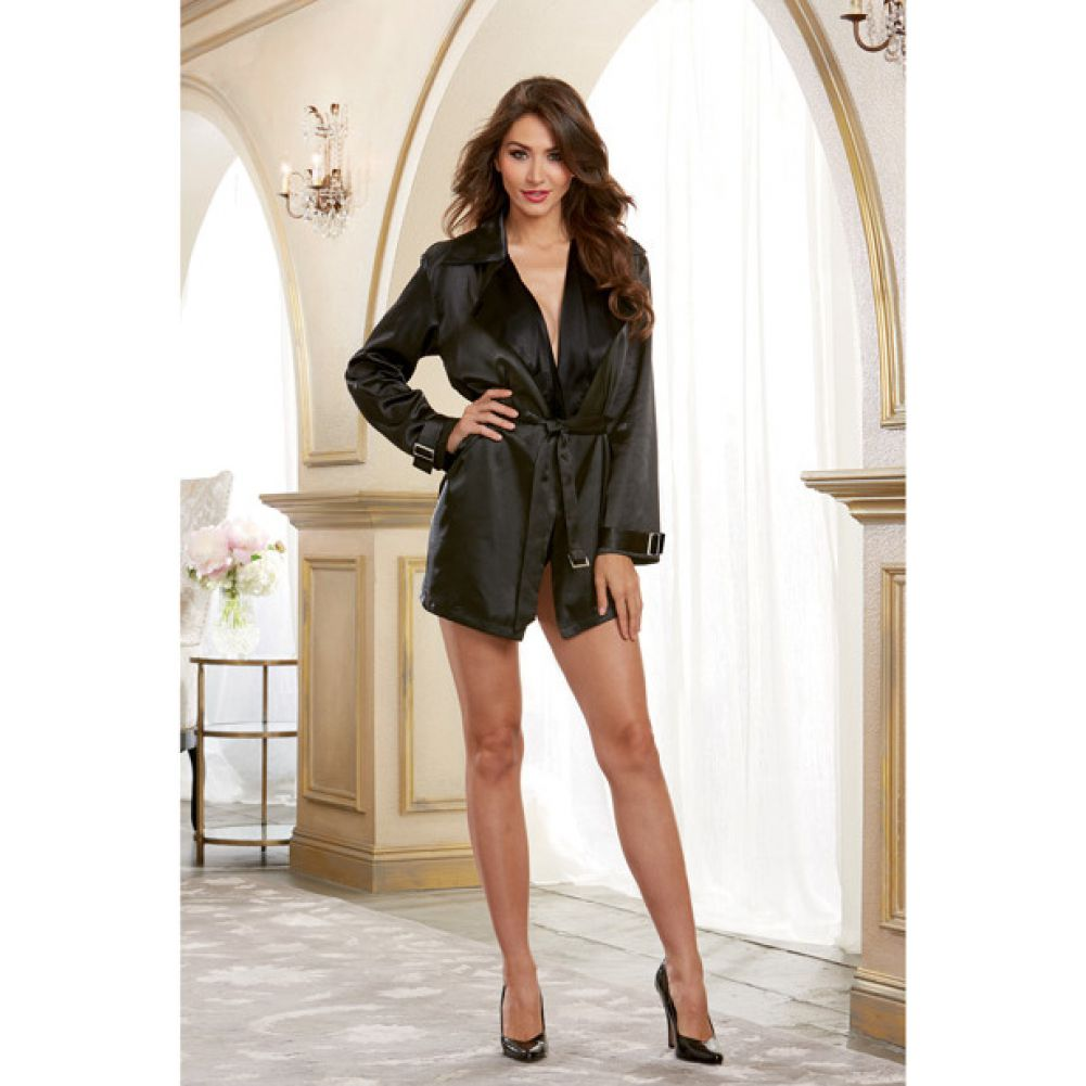 Dreamgirl Lingerie Silky Satin Charmeuse Robe with Trench Coat Styling Attached Belt X-LargeBlack - View #4