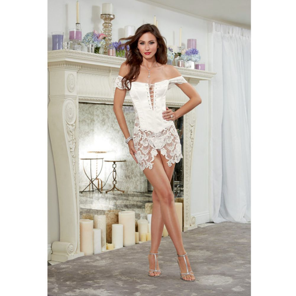 Dreamgirl Lingerie Venice Lace Fully Boned Corset with High-Low Skirt and Thong 36 Pearl - View #4