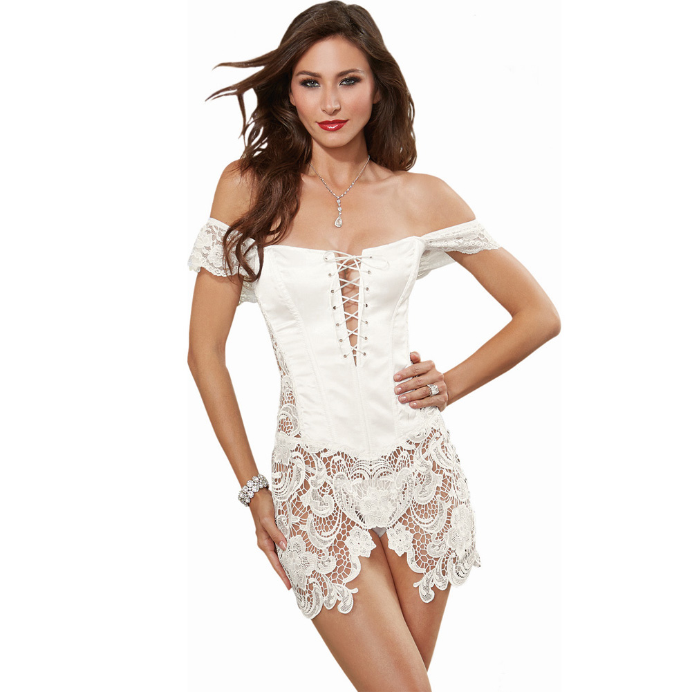 Dreamgirl Lingerie Venice Lace Fully Boned Corset with High-Low Skirt and Thong 38 Pearl - View #1