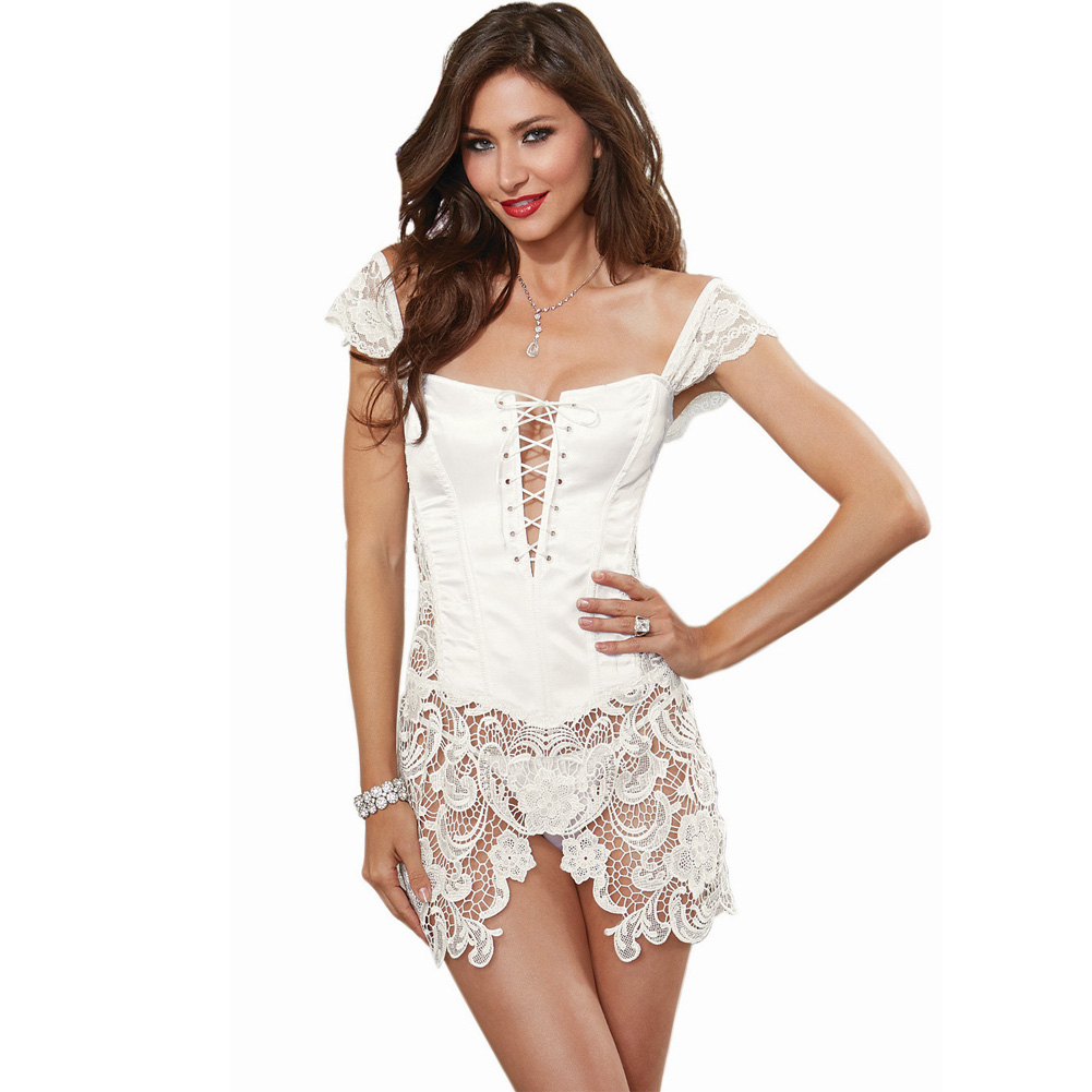 Dreamgirl Lingerie Venice Lace Fully Boned Corset with High-Low Skirt and Thong 38 Pearl - View #3