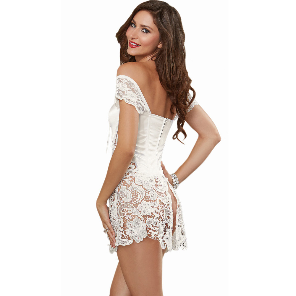 Dreamgirl Lingerie Venice Lace Fully Boned Corset with High-Low Skirt and Thong 40 Pearl - View #2