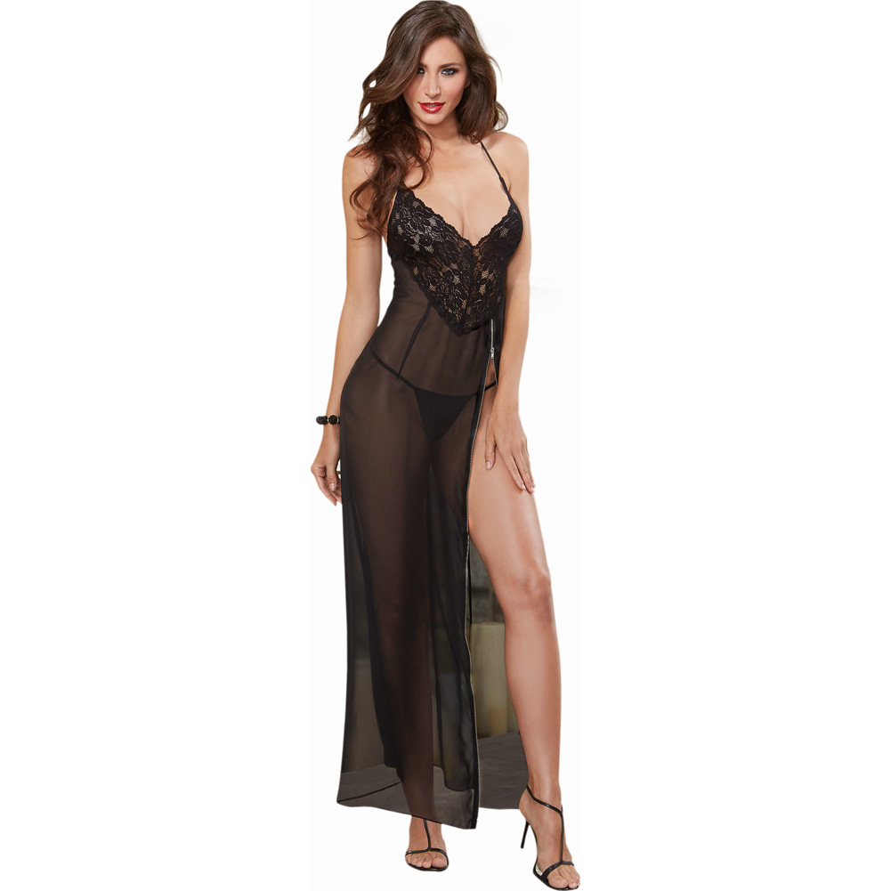 Dreamgirl Lingerie Ciffon and Stretch Lace Gown with Zipper Slit and Ciffon Thong Large Black - View #1