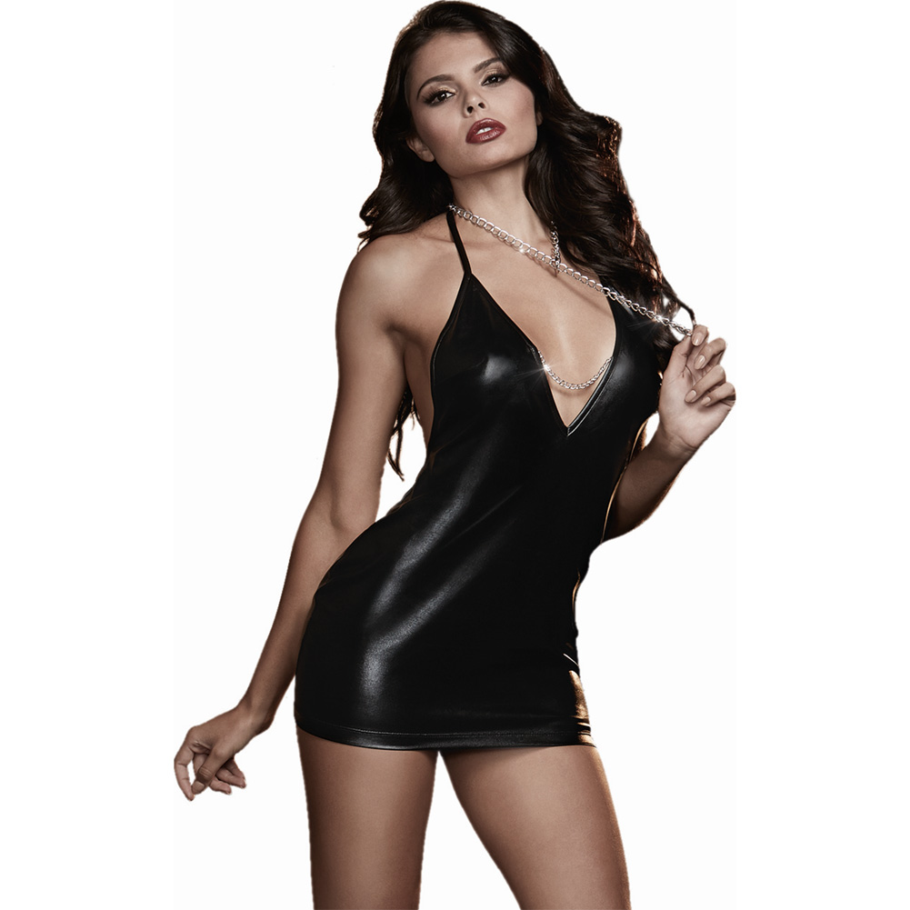 Dreamgirl Lingerie Fetish Faux Leather-Look Stretch Knit Chemise Open Back One Size Black - View #1