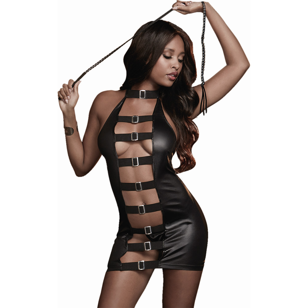 Dreamgirl Lingerie Fetish Faux Leather-Look Stretch Knit Chemise with Mesh Back One Size Black - View #1