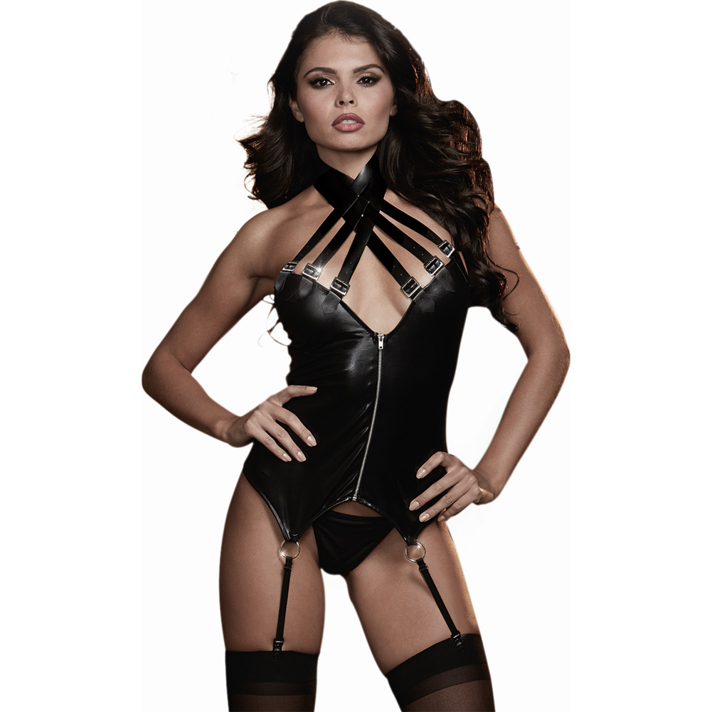 Strappy Faux Leather Stretch Knit Fetish Bustier with Garters and G-String One Size Black - View #1