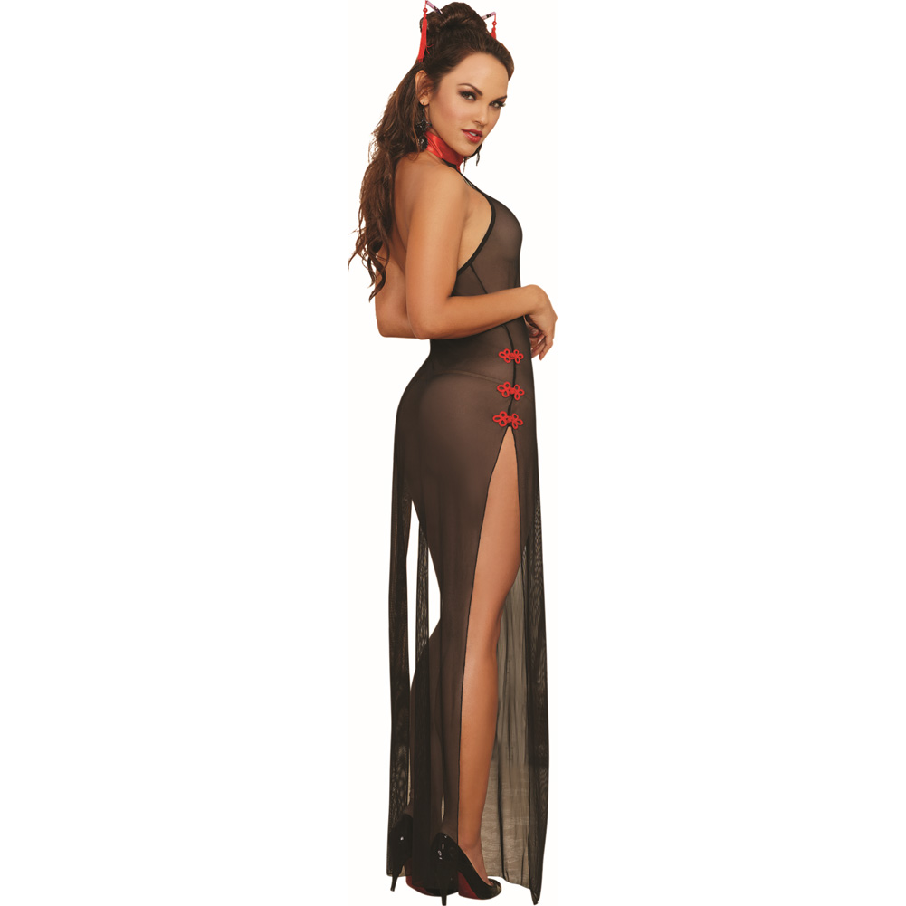 Dreamgirl Lingerie Mesh Halter High Slit Gown Collar Decorative Fasteners One Size Black - View #2