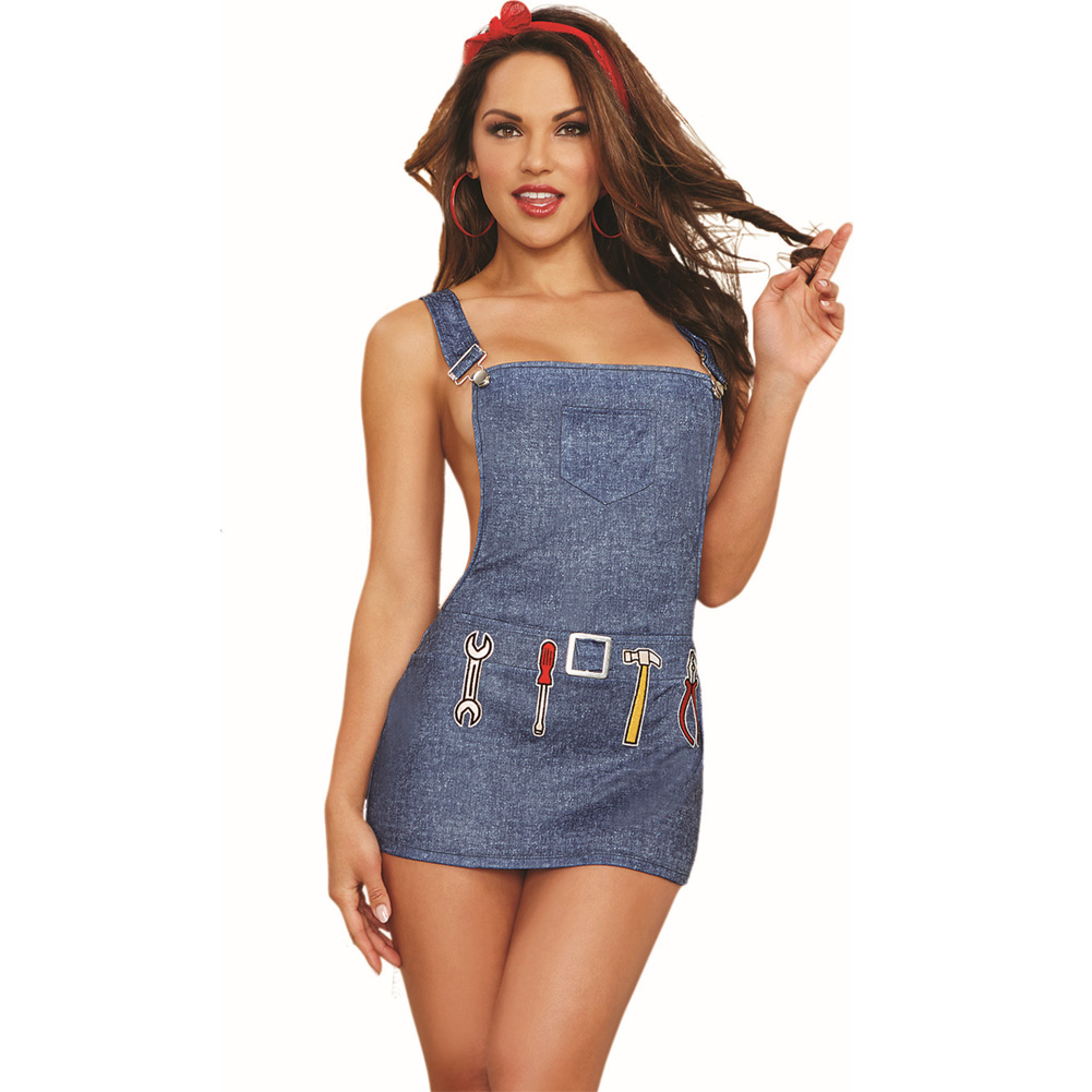 Dreamgirl Lingerie 2 Piece Denim Printed Stretch Knit Overall Apron with Bandana One Size Blue - View #1