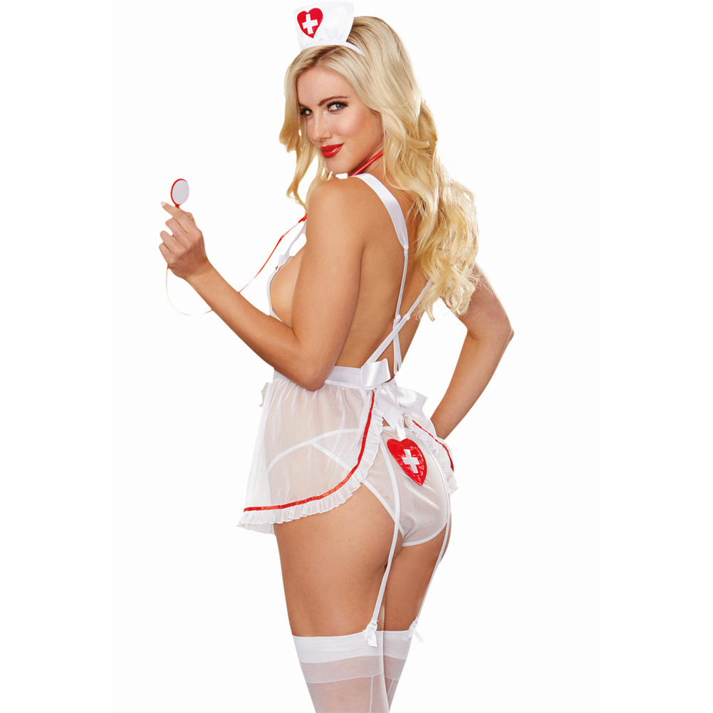 Dreamgirl Lingerie Stretch Mesh Apron Attached Garters Panty Cap Stethoscope One Size White - View #2