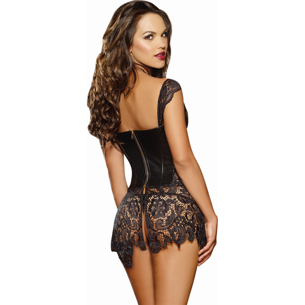 Faux Leather Venice Lace Fully Boned Corset with Hi-Low Attached Skirt and Thong Size 36 Black - View #2