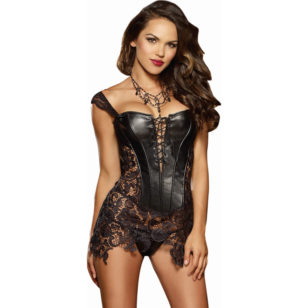 Dreamgirl Lingerie Faux Leather Venice Lace Corset Hi-Low Attached Skirt and Thong 38 Black - View #1