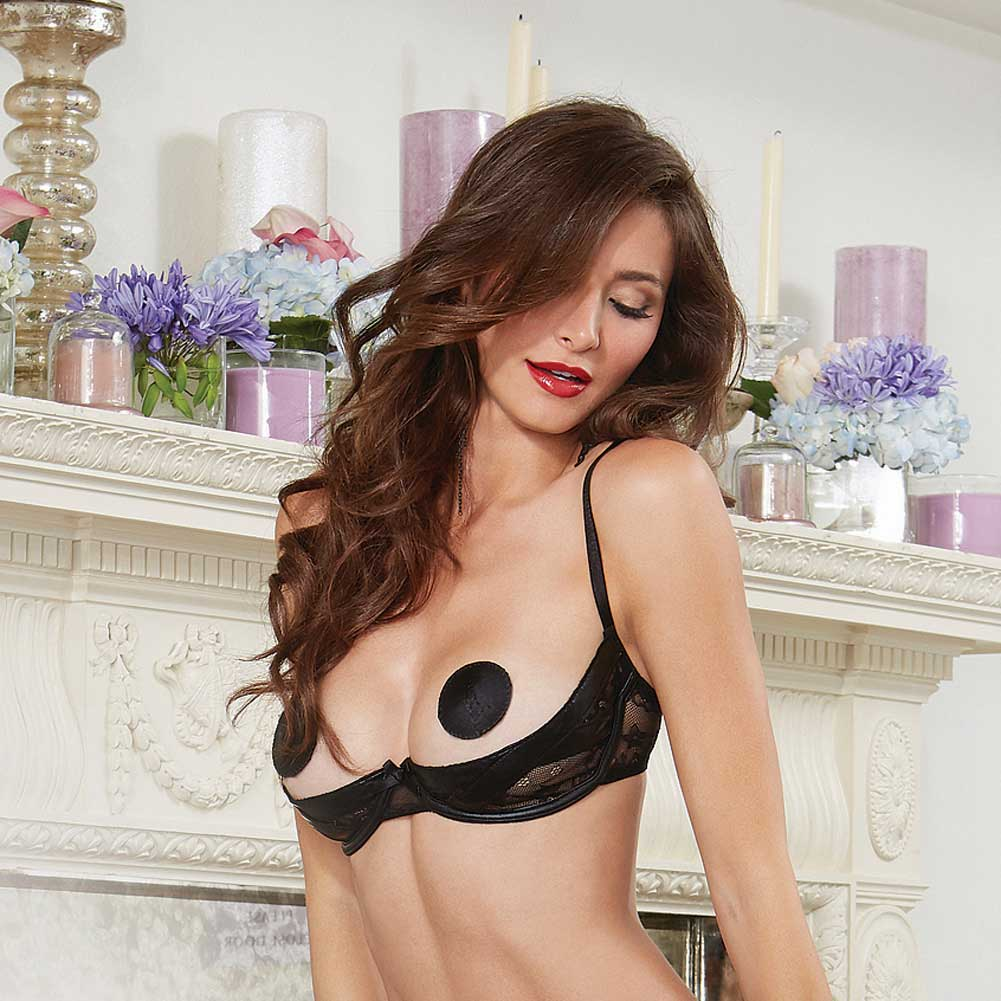 Dreamgirl Lingerie Stretch Lace Open Cup Underwire Shelf Bra with Vinyl X Design 38 Black - View #3