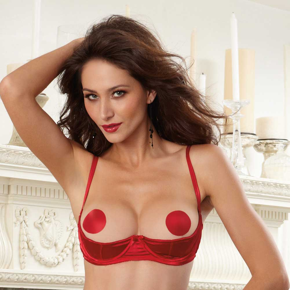 Dreamgirl Lingerie Satin Open Cup Underwire Shelf Bra with Zig-Zag Topstitch 32 Red - View #3