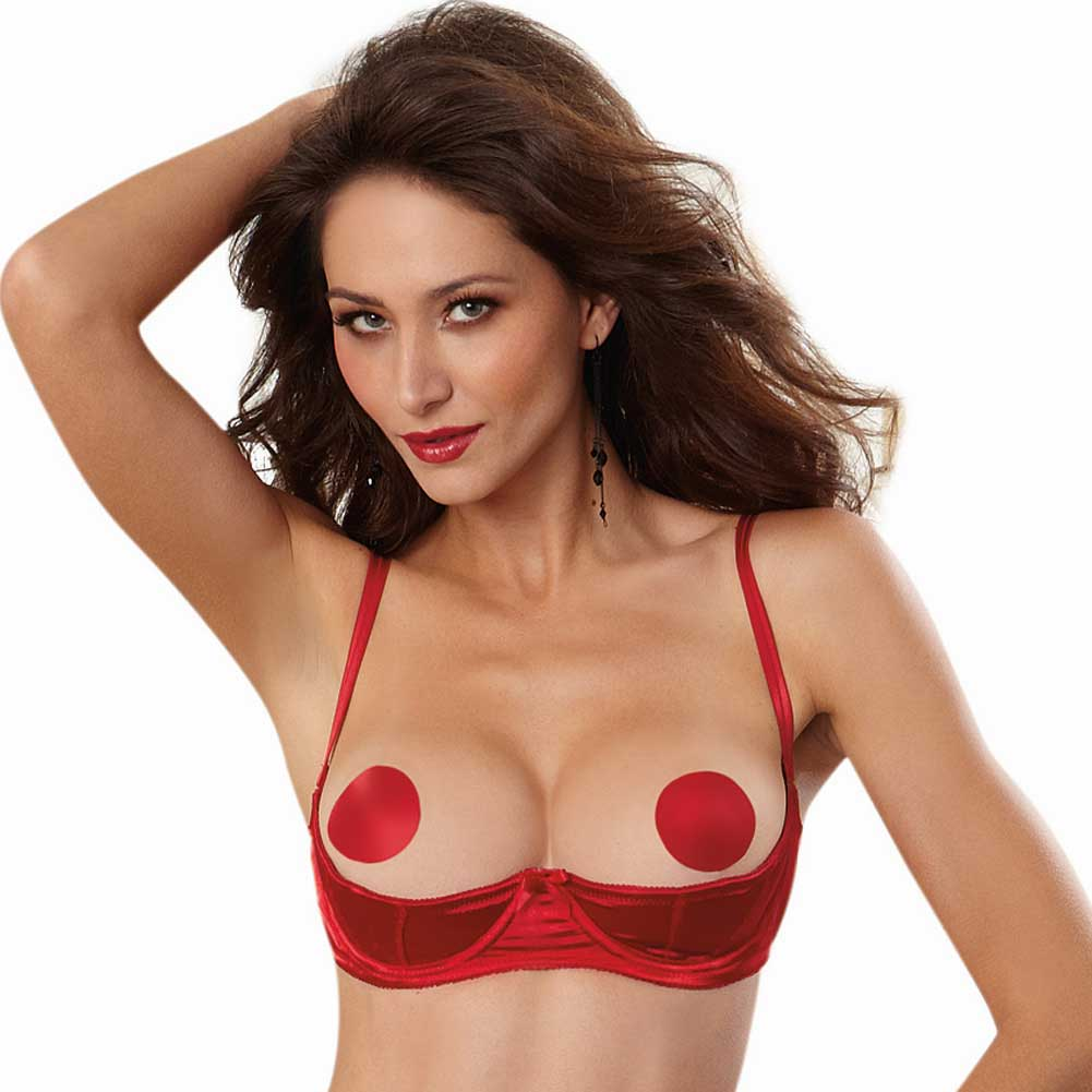 Dreamgirl Lingerie Satin Open Cup Underwire Shelf Bra with Zig-Zag Topstitch 36 Red - View #1