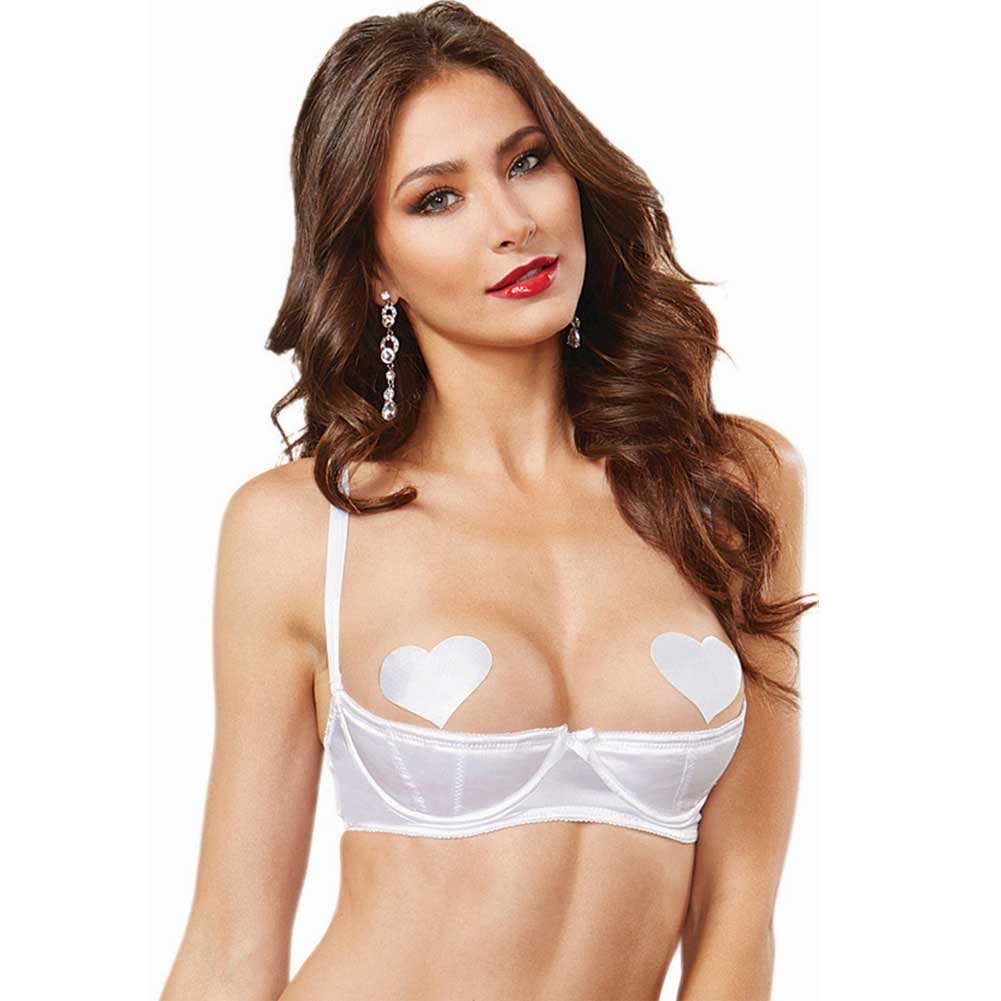 Dreamgirl Lingerie Satin Open Cup Underwire Shelf Bra with Zig-Zag Topstitch 32 White - View #1