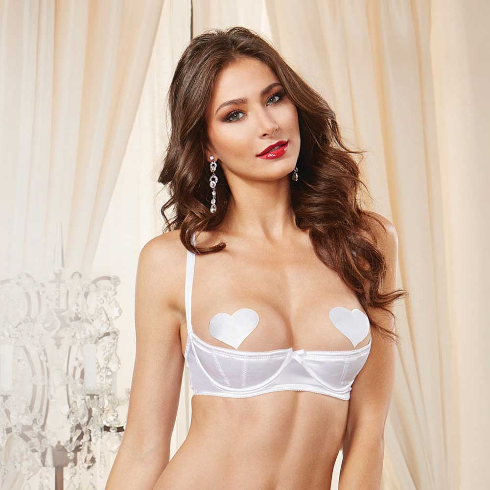 Dreamgirl Lingerie Satin Open Cup Underwire Shelf Bra with Zig-Zag Topstitch 32 White - View #3