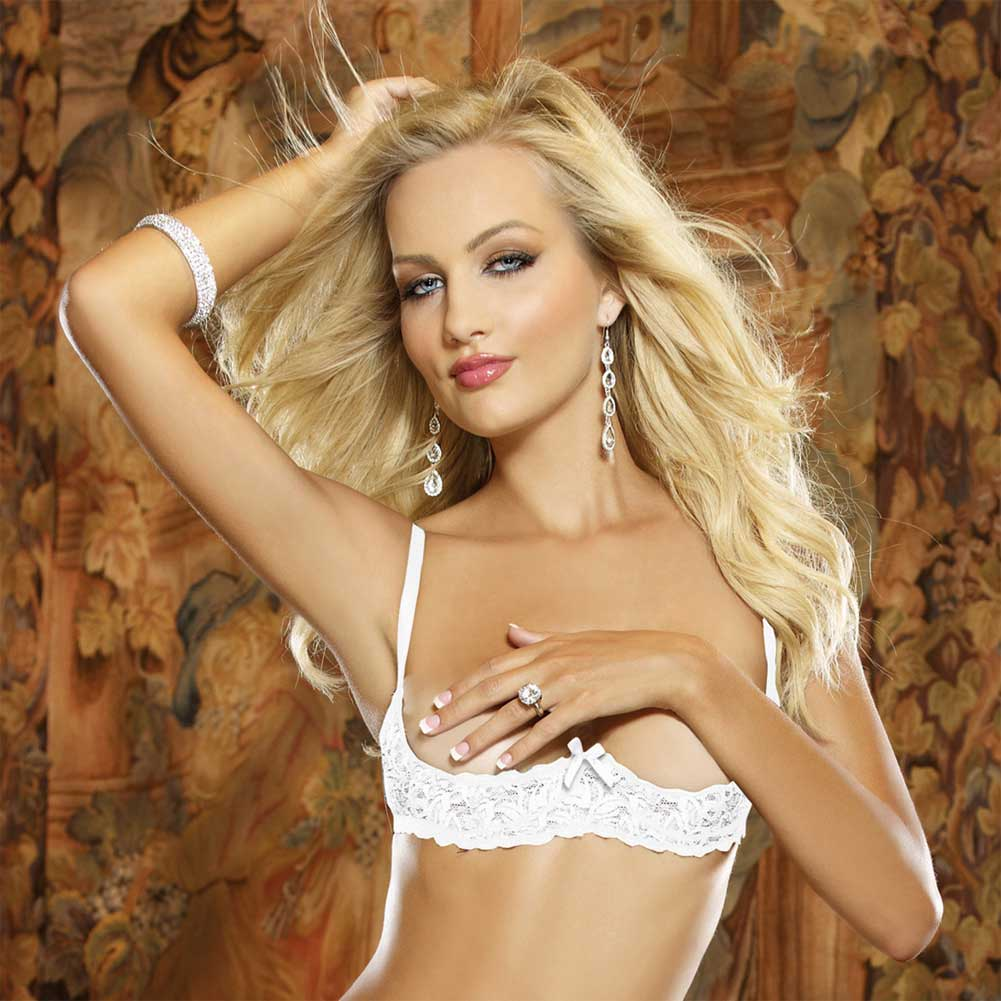 Dreamgirl Lingerie Stretch Lace Open Cup Underwire Shelf Bra with Adjustable Straps 34 White - View #3