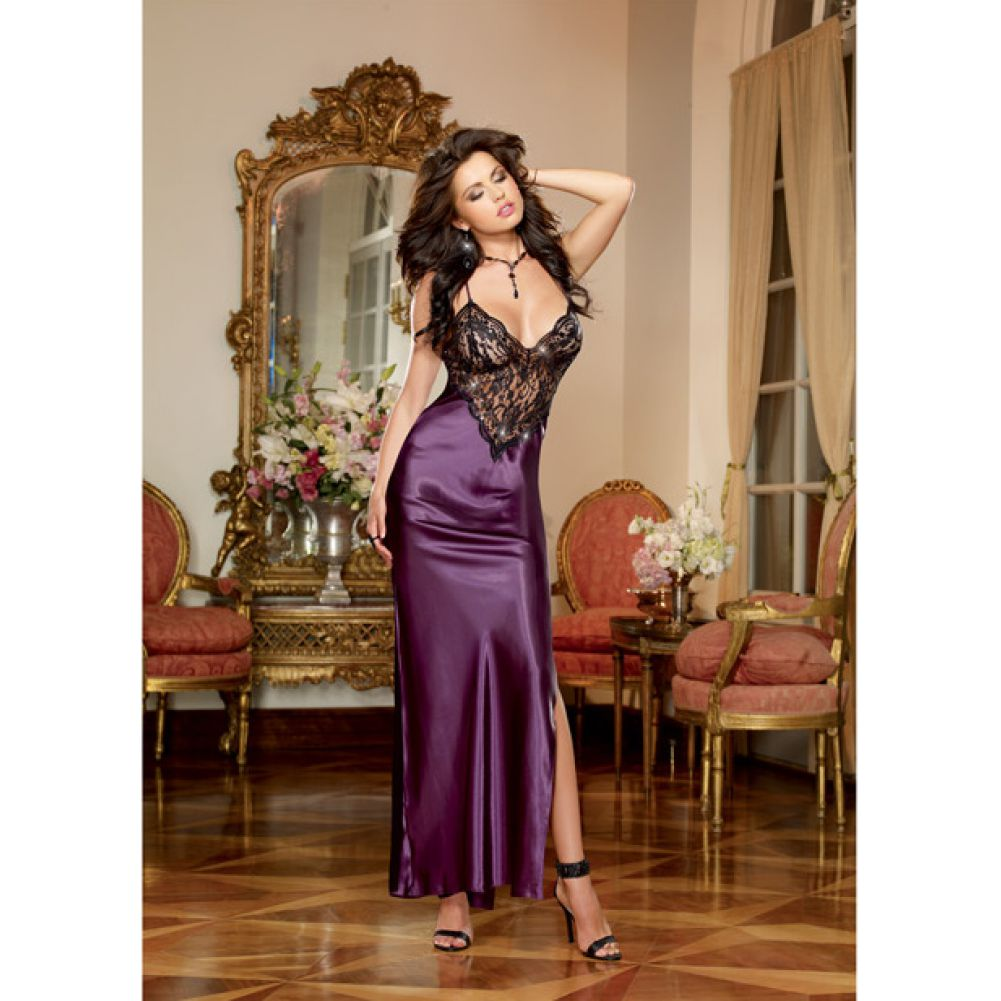 Dreamgirl Lingerie Satin Charmeuse Full Length Gown Criss Cross StrapsThong Medium Plum - View #2