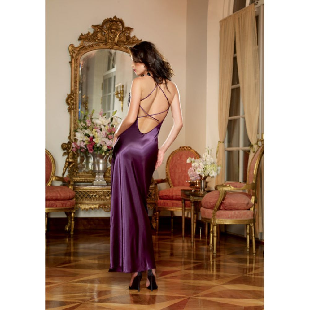 Dreamgirl Lingerie Satin Charmeuse Full Length Gown Criss Cross StrapsThong Small Plum - View #1