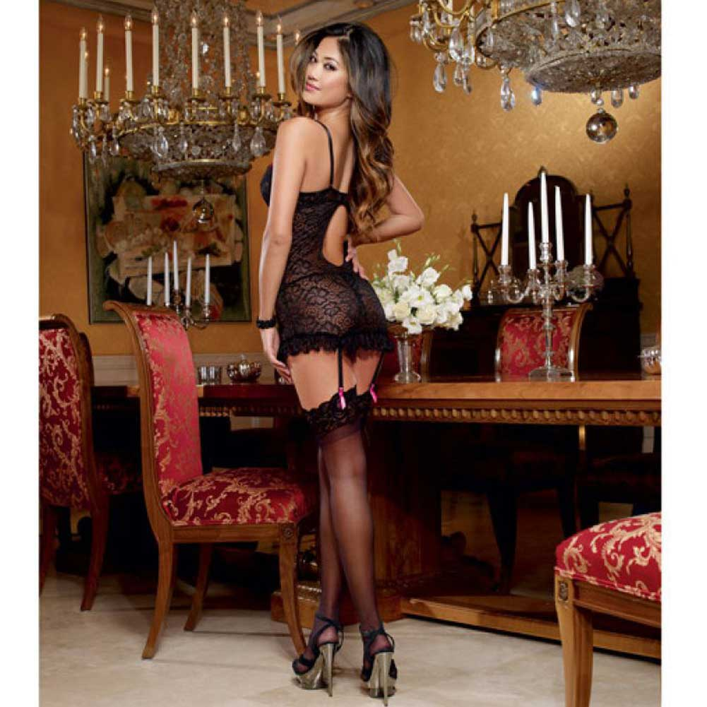 Dreamgirl Lingerie Stretch Lace Underwire Garter Slip Removable Straps Thong Medium Black - View #4