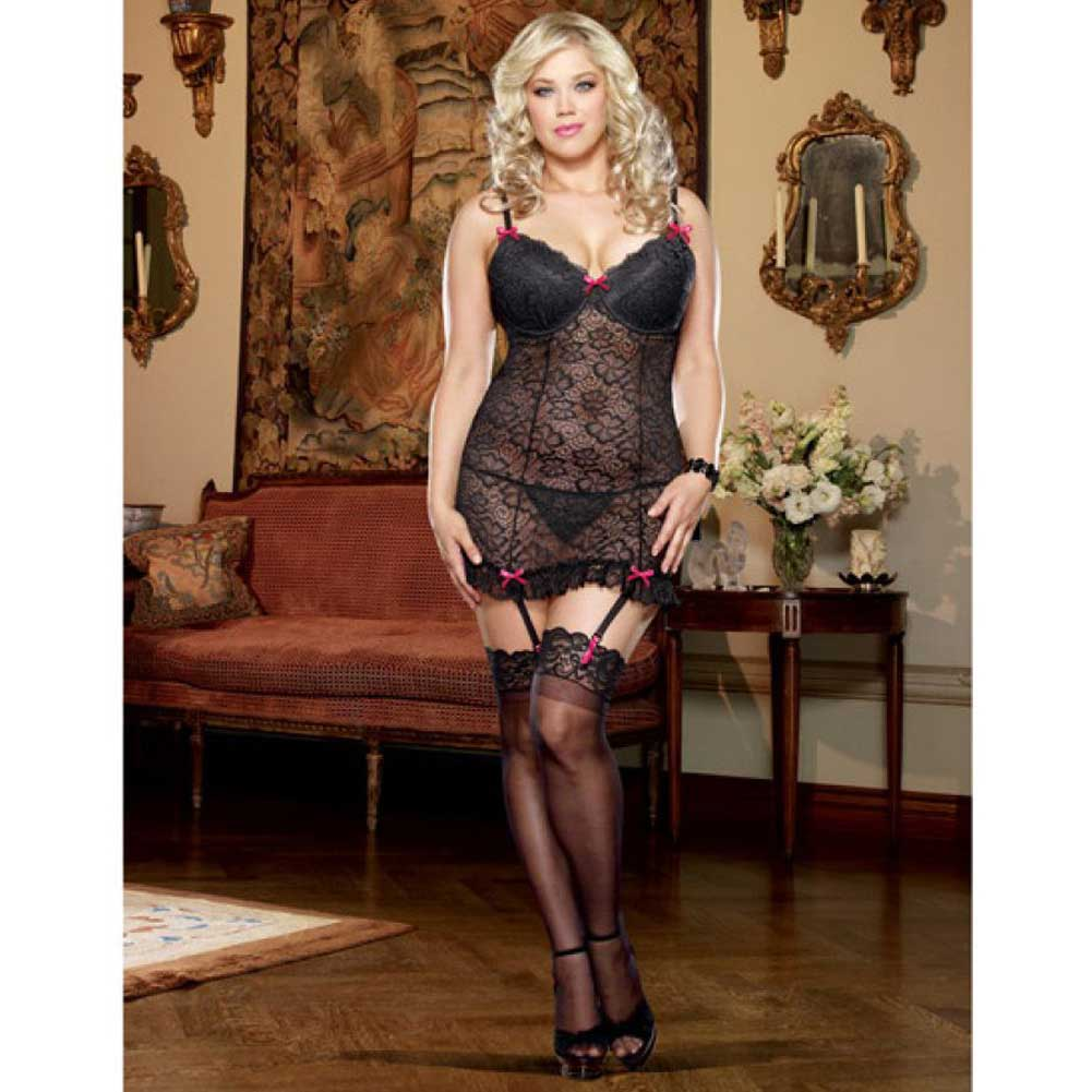 Dreamgirl Lingerie Stretch Lace Underwire Garter Slip Removable Straps Thong 1X/2X Black - View #3