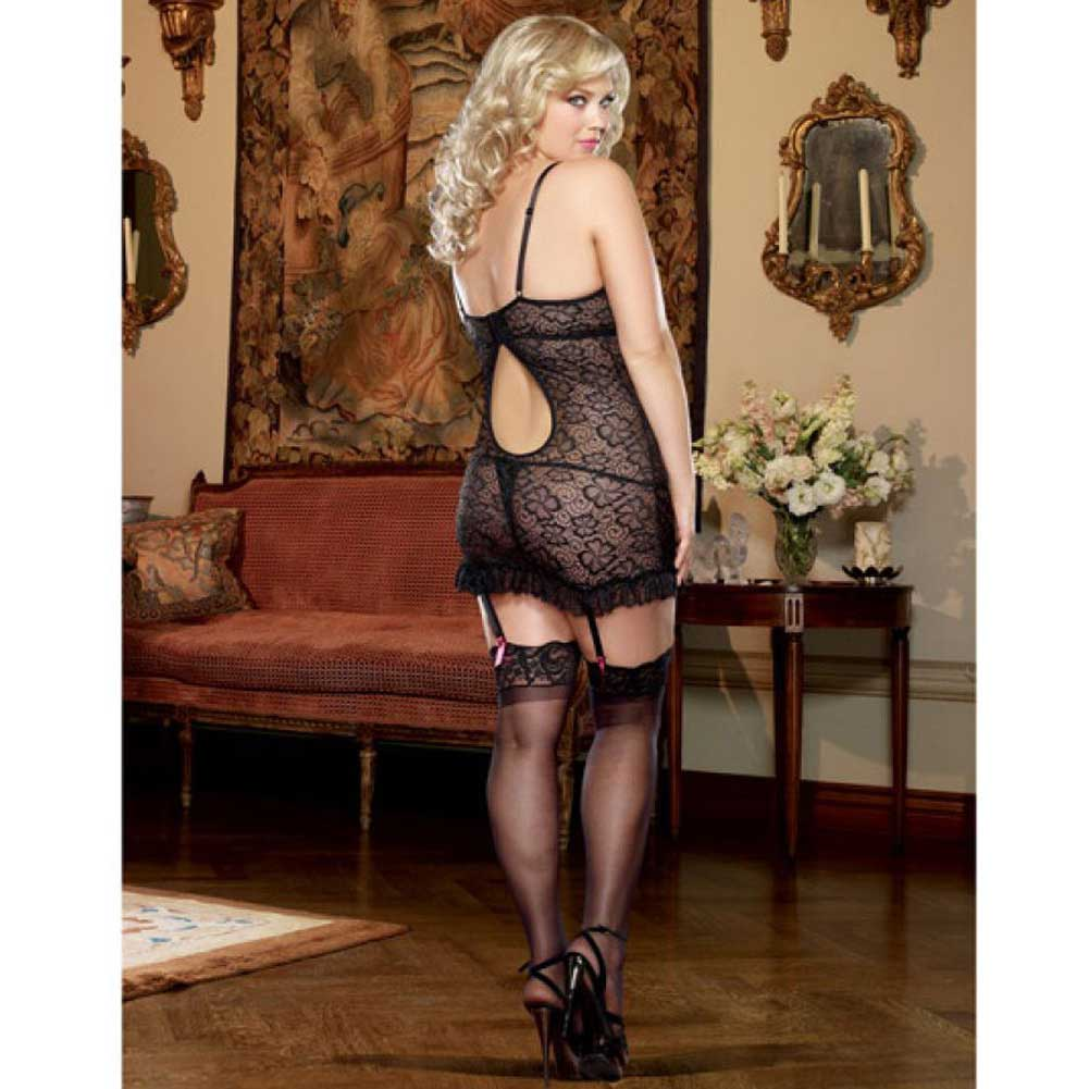 Dreamgirl Lingerie Stretch Lace Underwire Garter Slip Removable Straps Thong 3X/4X Black - View #2