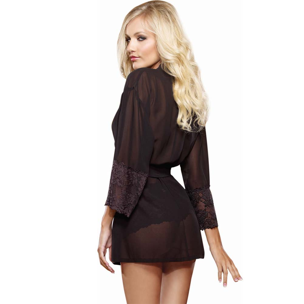 Dreamgirl Chiffon Stretch Lace Short Length Kimono Robe and Cheeky Panty 3X/4X Black - View #2