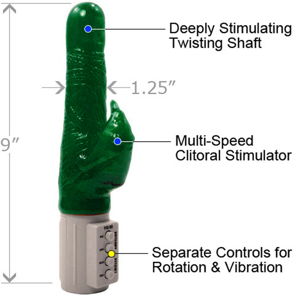 "Golden Triangle Osaki Ultra Beaver Vibrator 9"" Green - View #1"