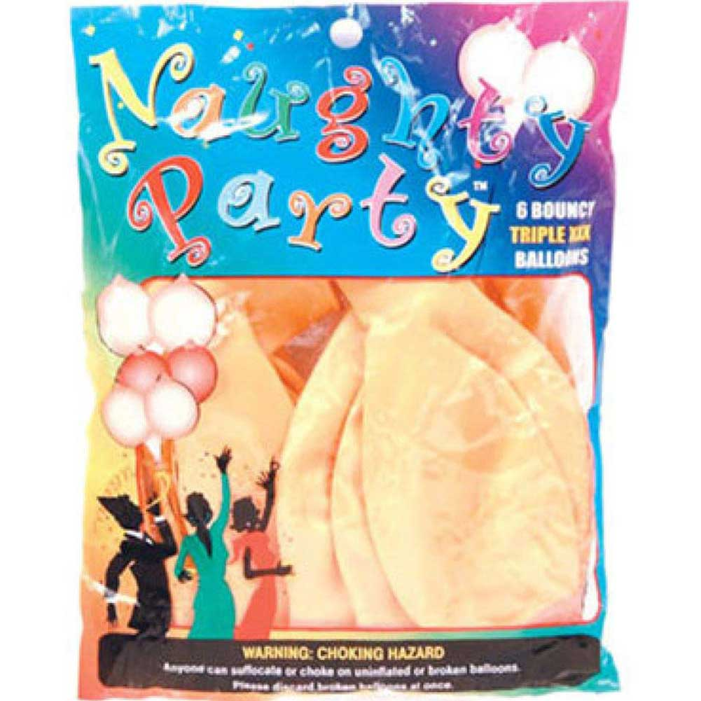 Golden Triangle Naughty Party Boobie Balloons Flesh Pack of 6 - View #1