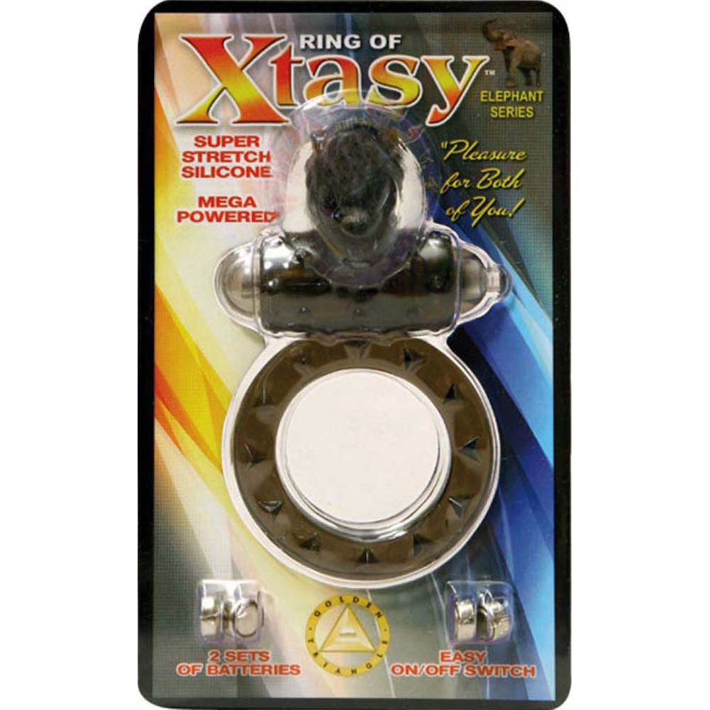 Ring of Xtasy Vibrating Cock Ring Black Elephant - View #1