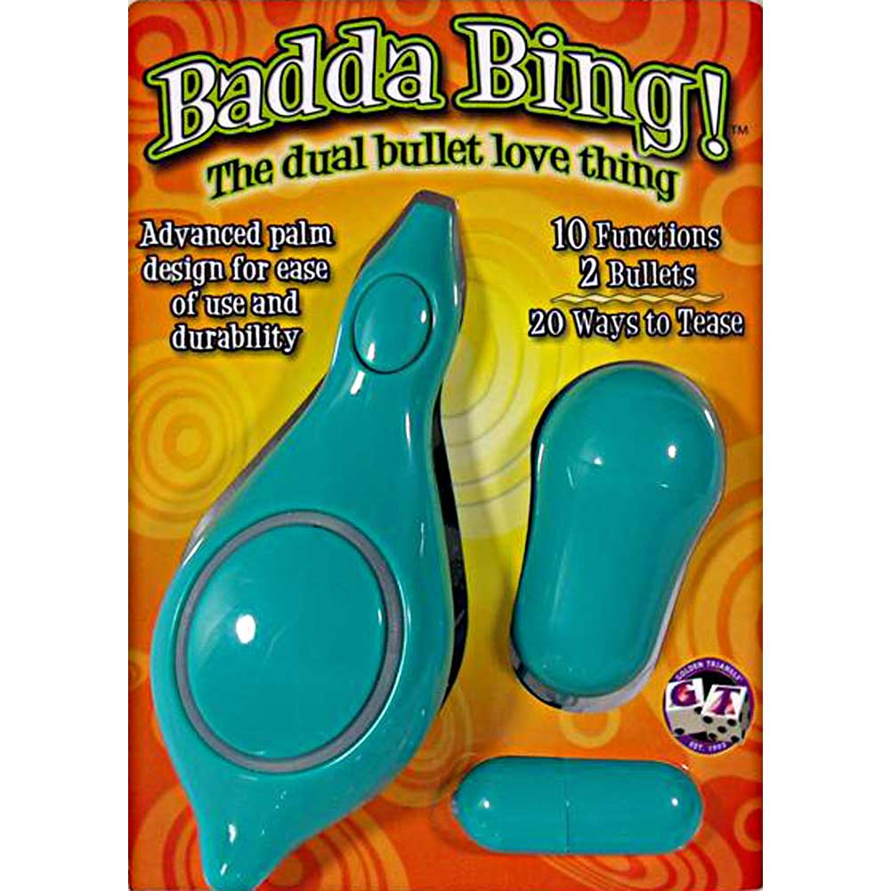 "Golden Triangle Badda Bing Dual Bullet Love Thing Vibrator 2"" Teal - View #1"