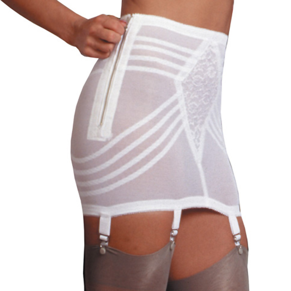 Rago Shapewear Zippered Open Bottom Girdle White Large - View #1