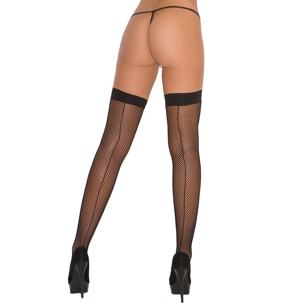 Elegant Moments Fishnet Thigh Highs with Back Seam One Size Black - View #1