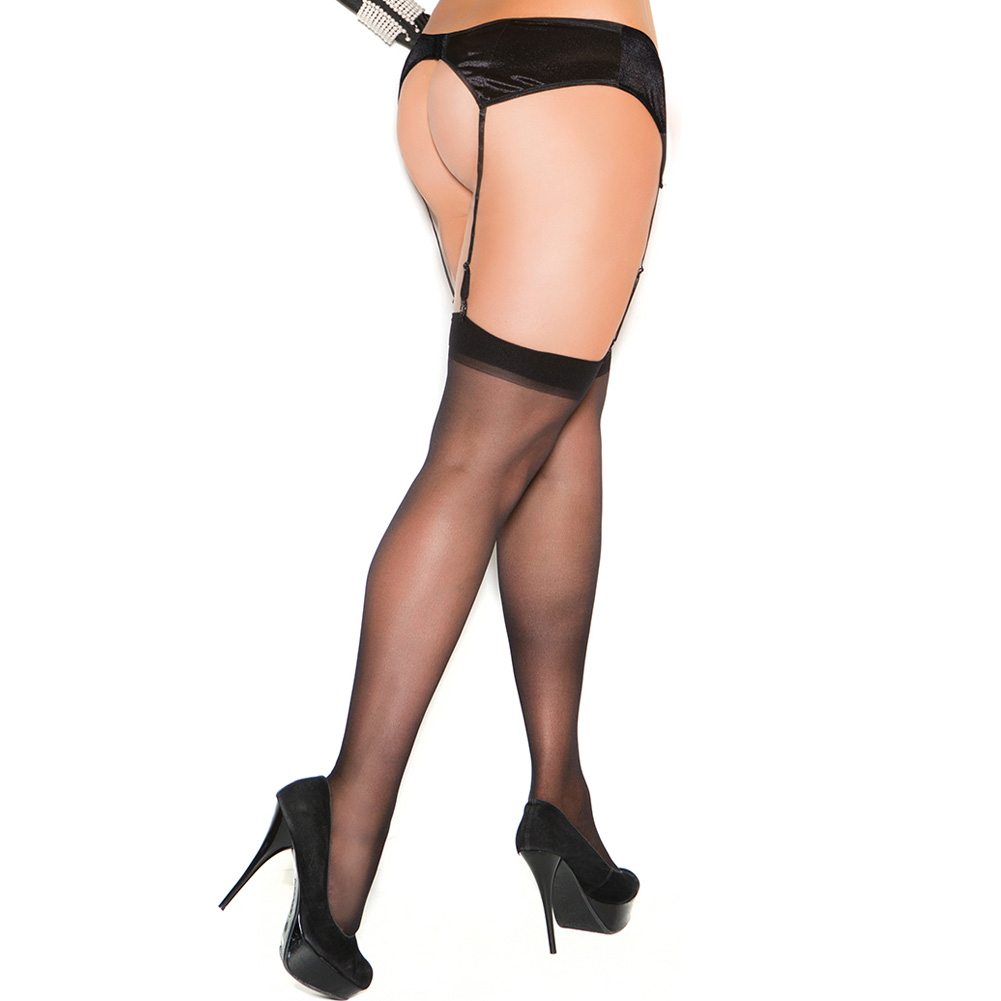 Elegant Moments Sheer Thigh Highs Queen Size Black - View #2