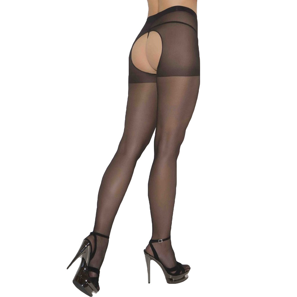 Sheer Crotchless Pantyhose One Size Black - View #2