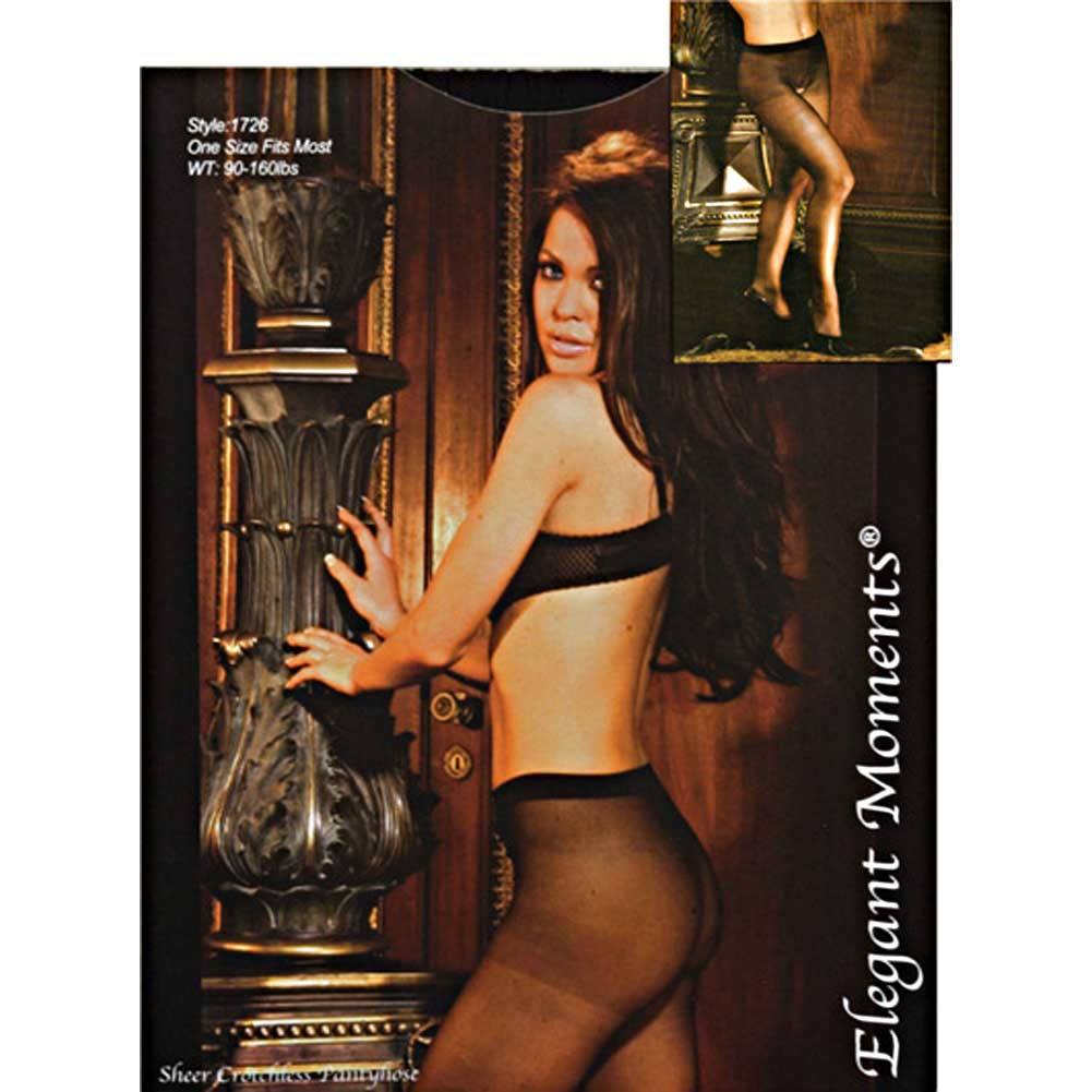 Sheer Crotchless Pantyhose One Size Black - View #4