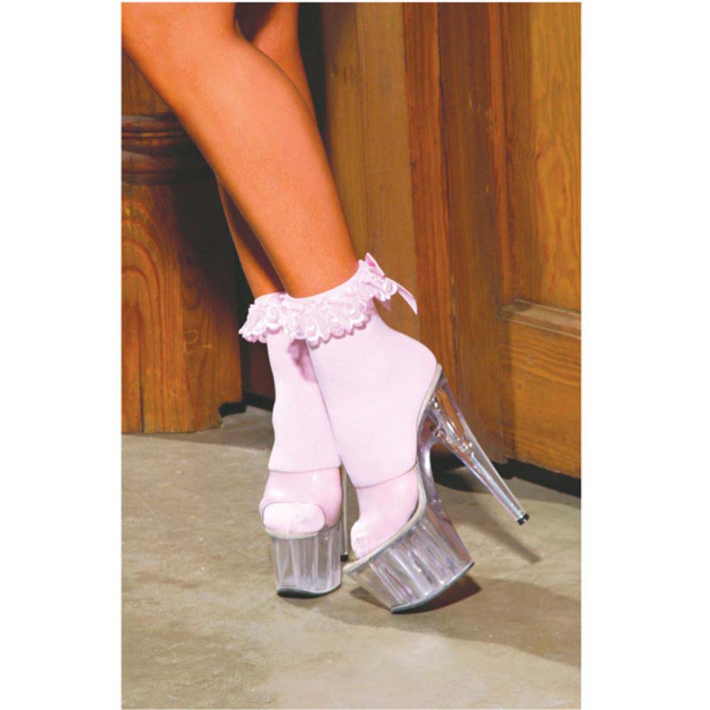 Nylon Anklet with Ruffle and Satin Bow Pink One Size - View #3