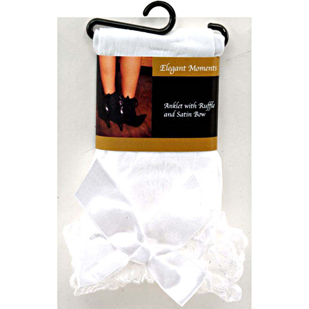 Nylon Anklet with Ruffle and Satin Bow White One Size - View #4