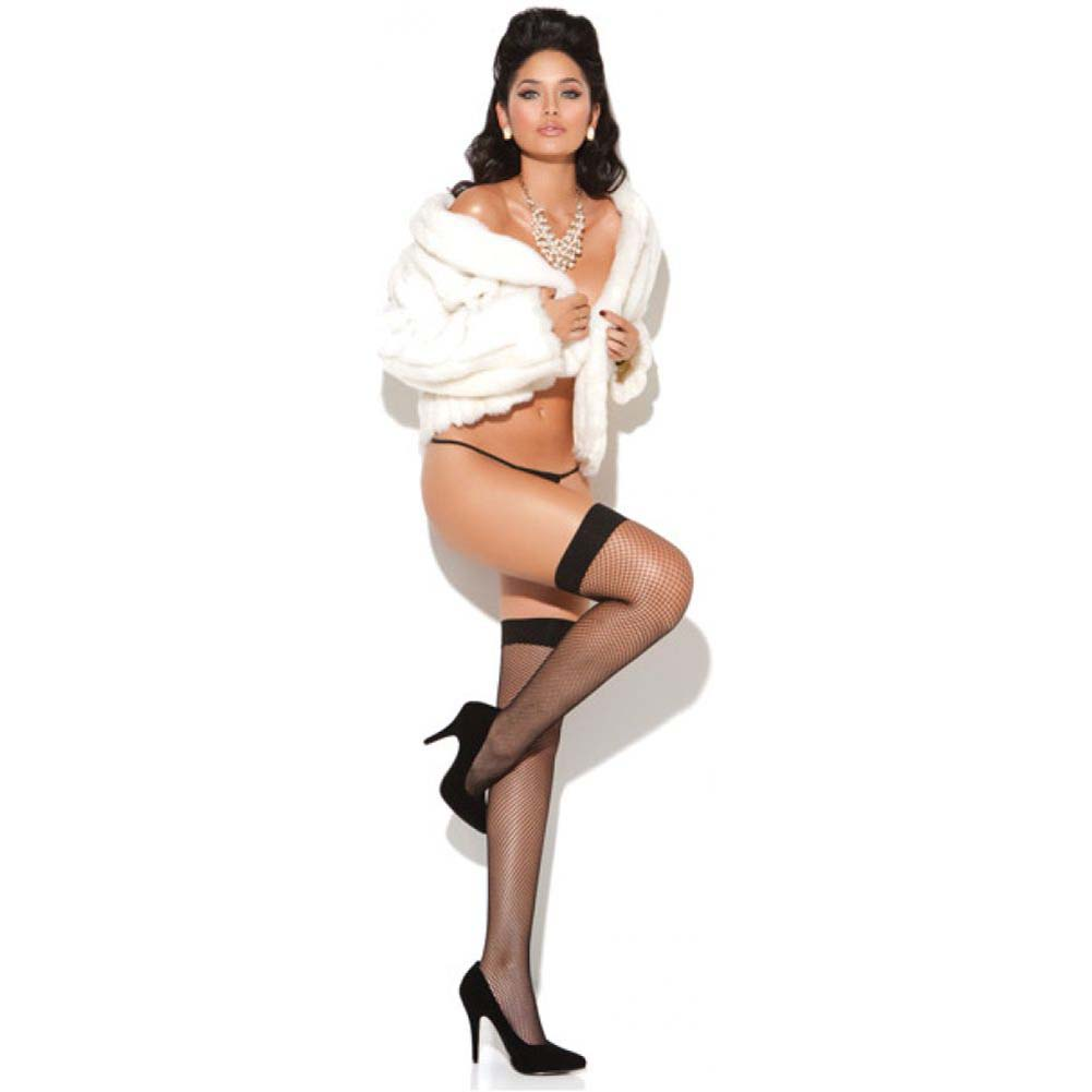 Vivace Fishnet Thigh Highs Black One Size - View #1
