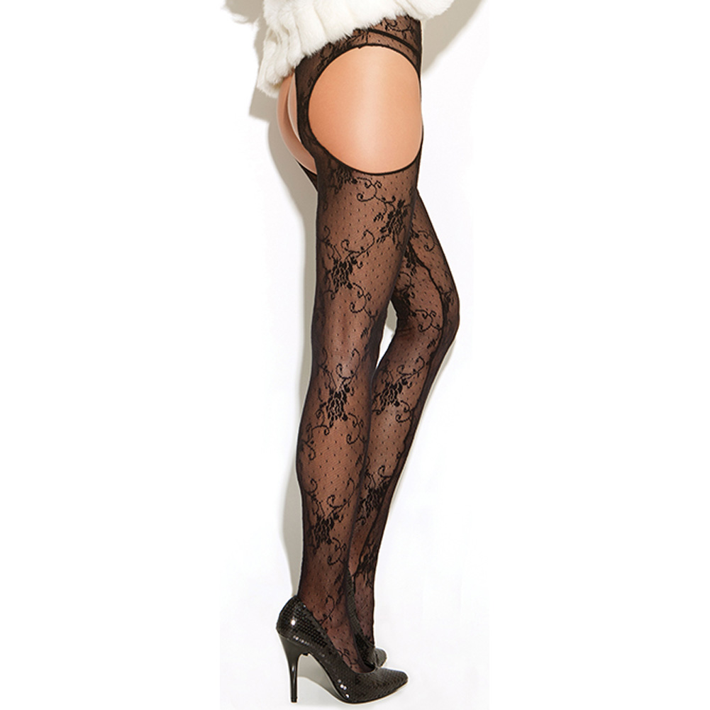 Vivace Lace Suspender Pantyhose Black One Size - View #1