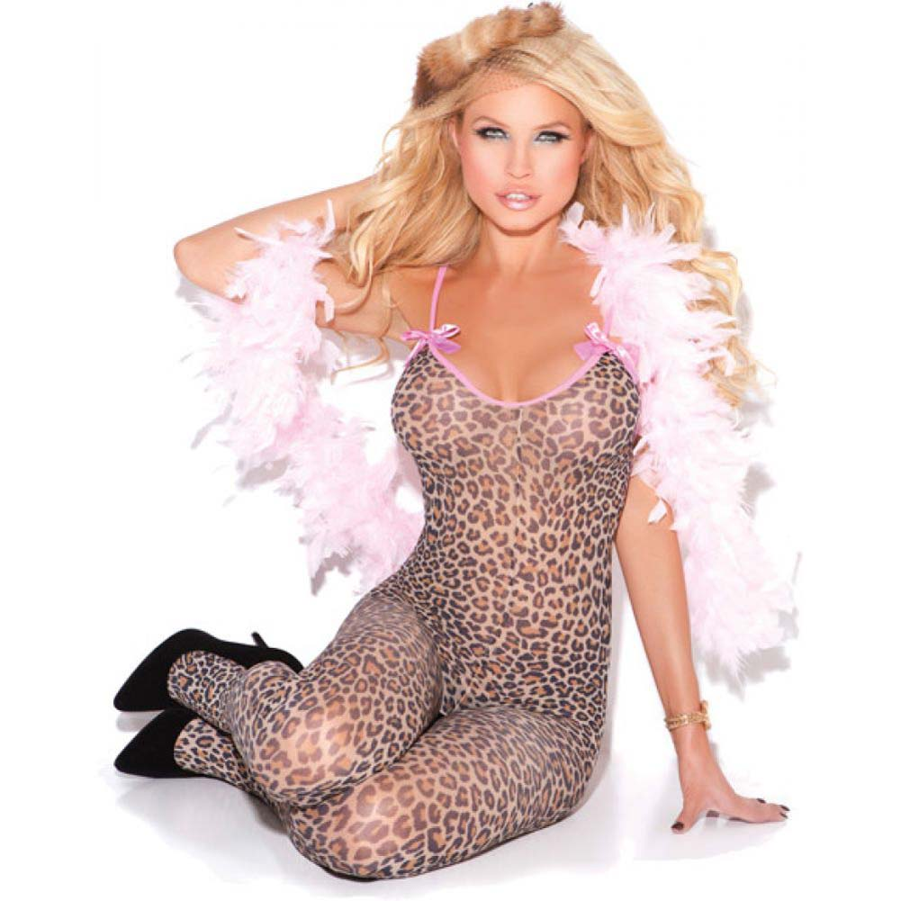 Vivace Bodystocking with Satin Bows Leopard One Size - View #1