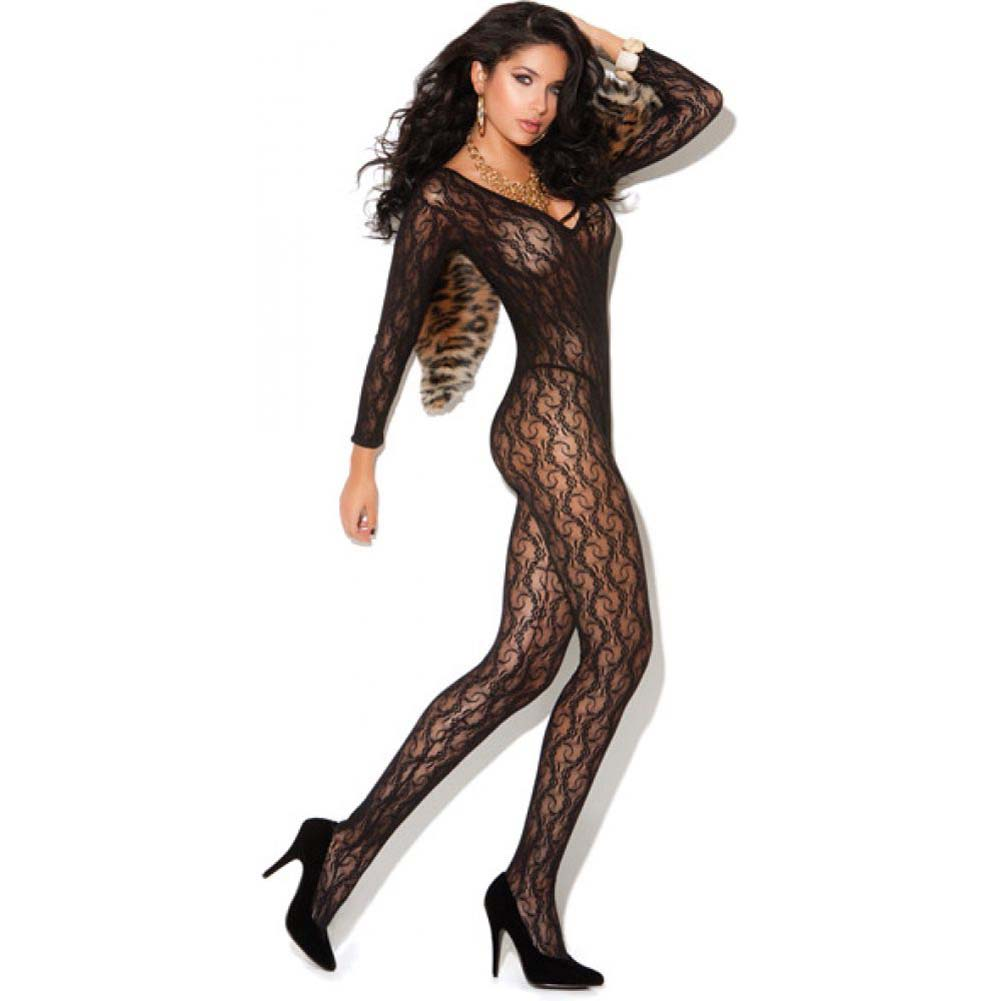 Vivace Long Sleeve Lace Bodystocking Black One Size - View #2