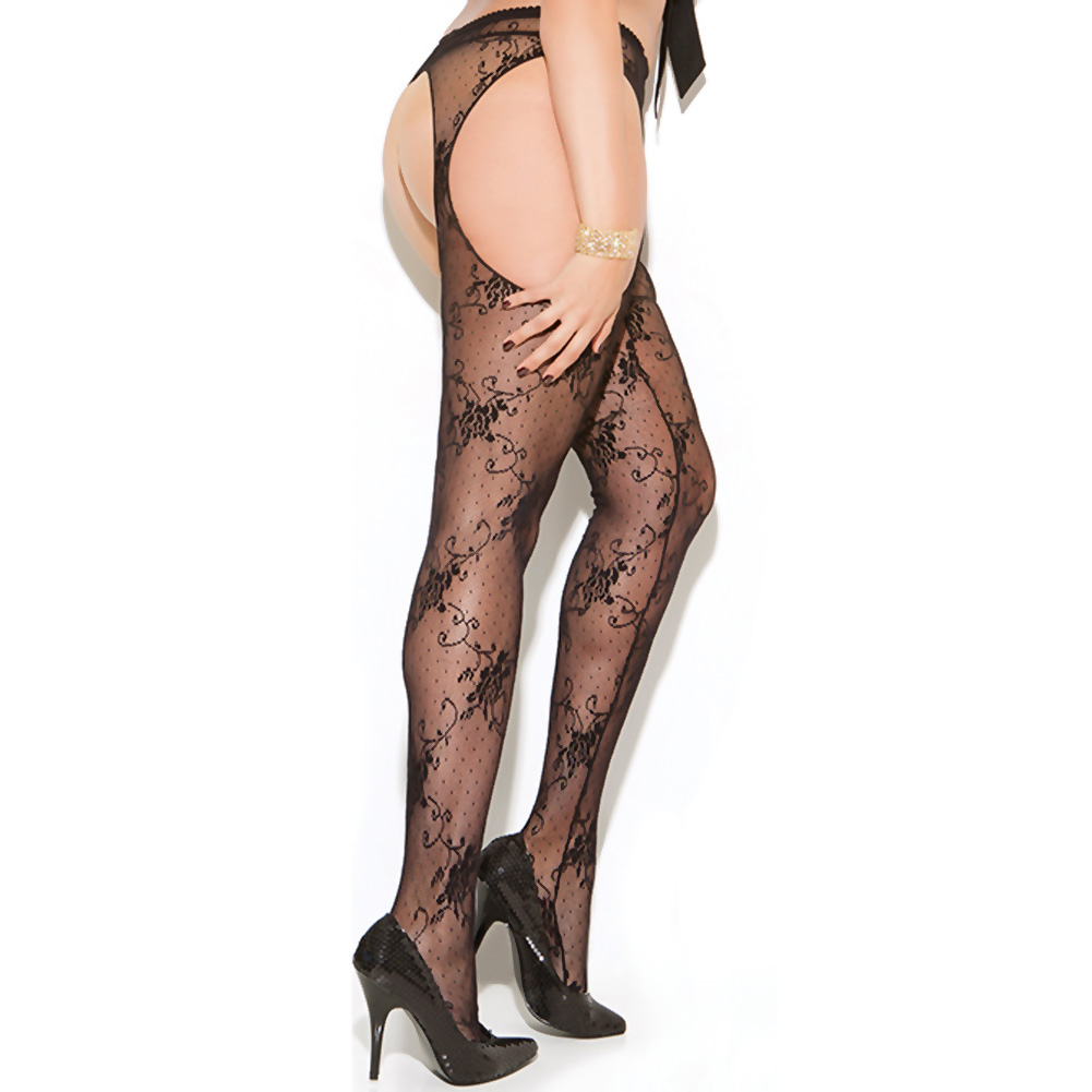 Vivace Lace Suspender Pantyhose Black Queen - View #1