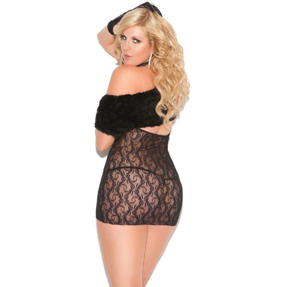 Vivace Cupless Stretch Lace Dress Plus Size Black - View #2