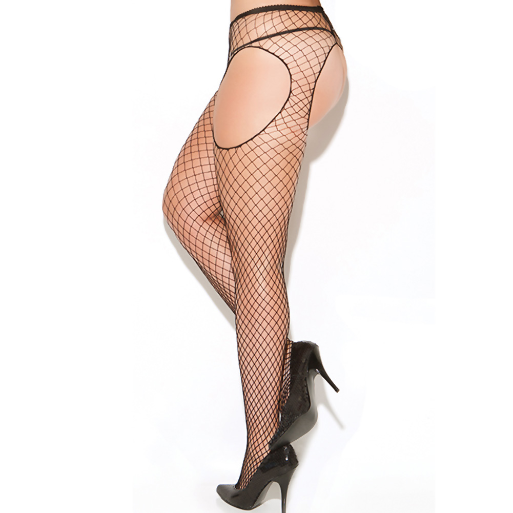 Vivace Diamond Net Suspender Pantyhose Black Queen - View #1