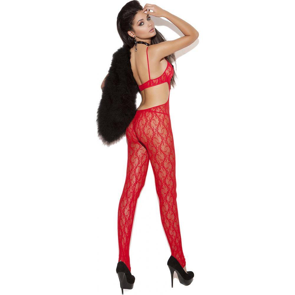 Vivace Lace Bodystocking with Satin Bow Detail Red One Size - View #2