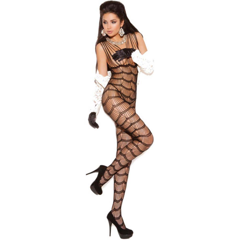 Vivace Vertical Striped Bodystocking Black One Size - View #1